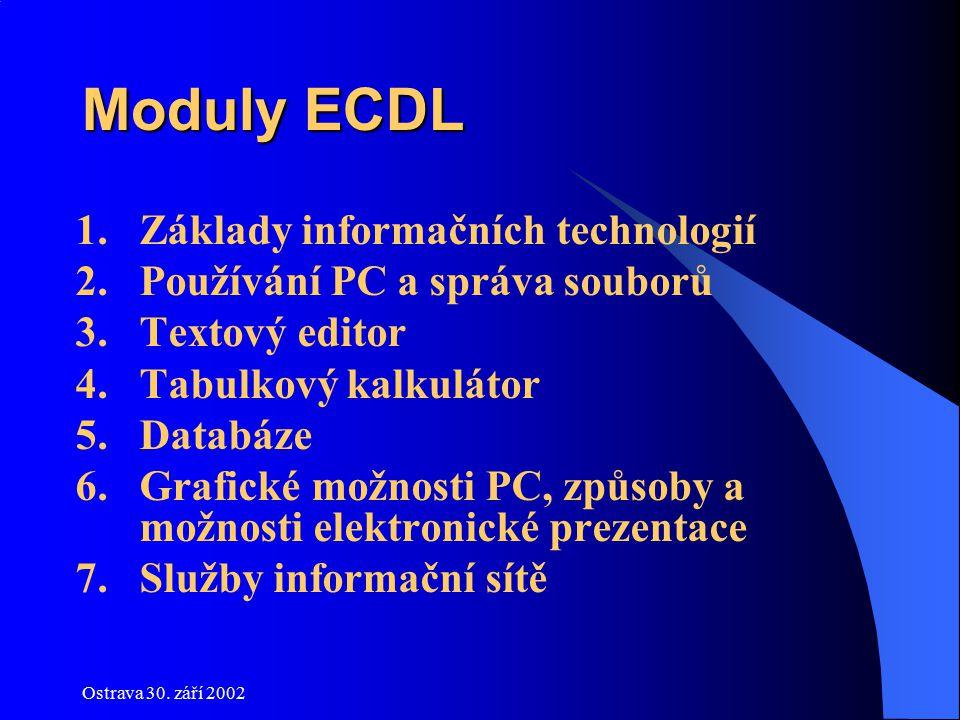 Ostrava 30. září 2002 Moduly ECDL 1.Základy informačních technologií 2.Používání PC a správa souborů 3.Textový editor 4.Tabulkový kalkulátor 5.Databáz