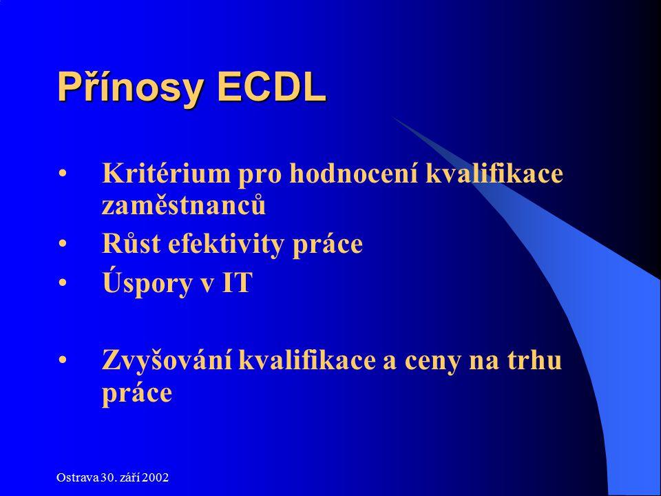 Ostrava 30. září 2002 Přínosy ECDL Kritérium pro hodnocení kvalifikace zaměstnanců Růst efektivity práce Úspory v IT Zvyšování kvalifikace a ceny na t