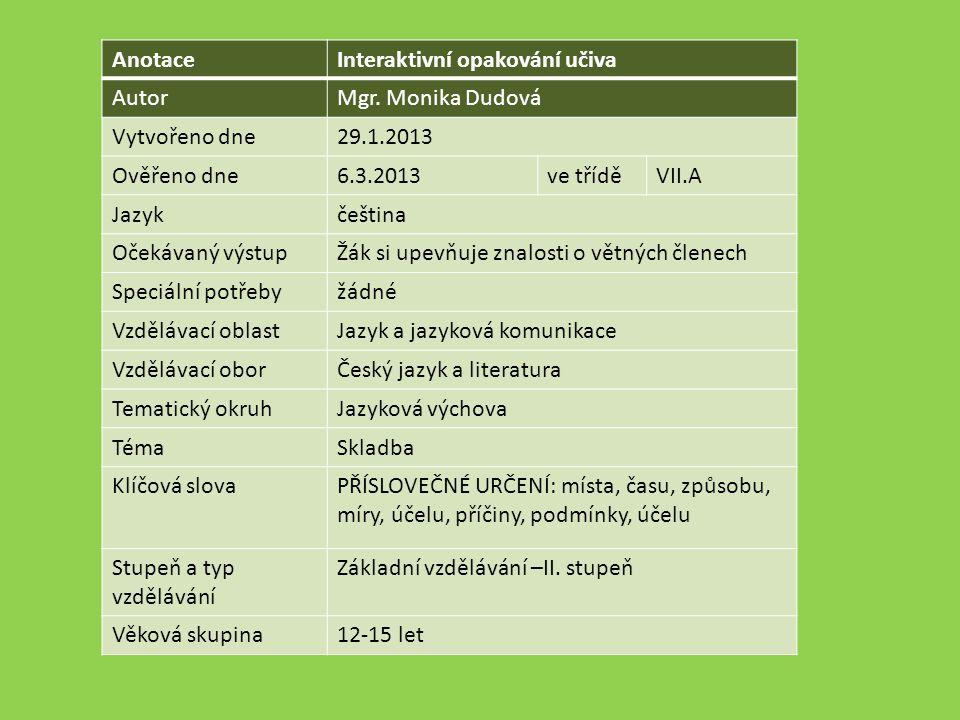 AnotaceInteraktivní opakování učiva AutorMgr.