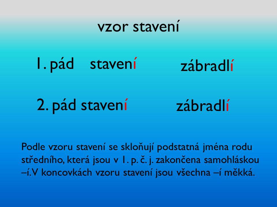 vzor stavení 1. pádstavení 2. pád stavení zábradlí Podle vzoru stavení se skloňují podstatná jména rodu středního, která jsou v 1. p. č. j. zakončena