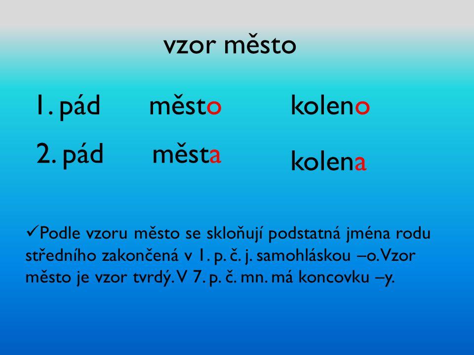 vzor město 1. pád městokoleno 2. pád města kolena Podle vzoru město se skloňují podstatná jména rodu středního zakončená v 1. p. č. j. samohláskou –o.