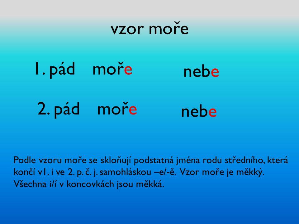 vzor moře 1. pád moře 2. pád moře nebe Podle vzoru moře se skloňují podstatná jména rodu středního, která končí v1. i ve 2. p. č. j. samohláskou –e/-ě