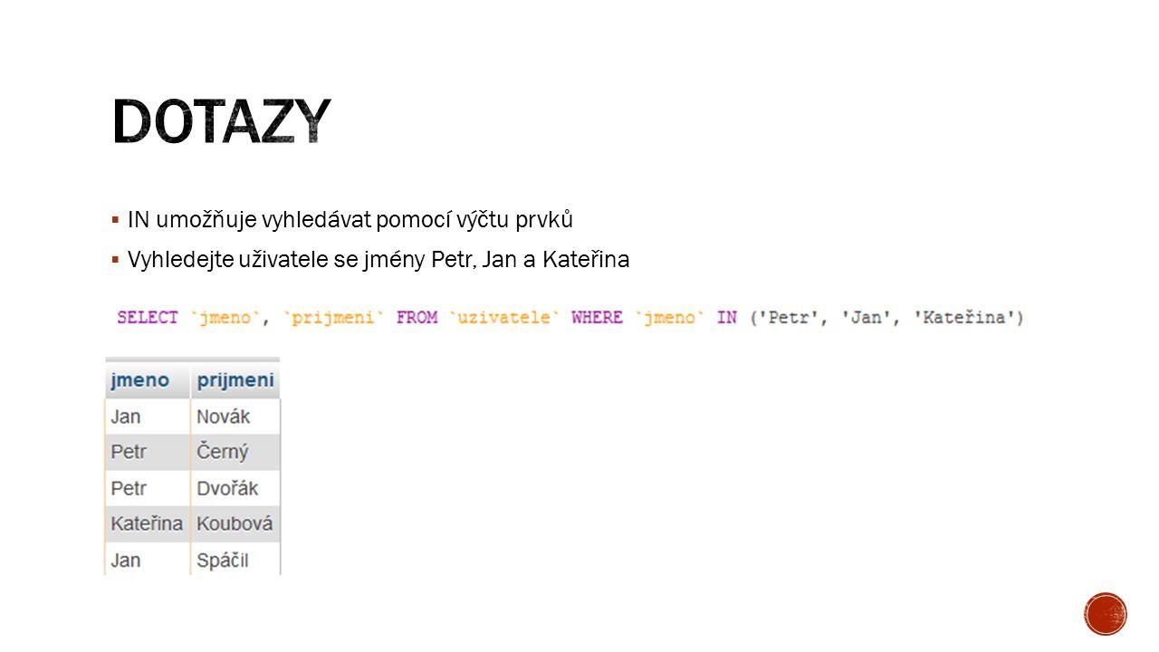  IN umožňuje vyhledávat pomocí výčtu prvků  Vyhledejte uživatele se jmény Petr, Jan a Kateřina