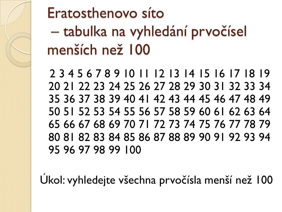 Eratosthenovo síto – tabulka na vyhledání prvočísel menších než 100 2 3 4 5 6 7 8 9 10 11 12 13 14 15 16 17 18 19 20 21 22 23 24 25 26 27 28 29 30 31