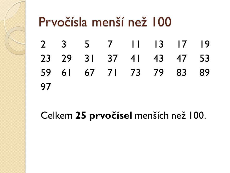 Prvočísla menší než 100 235711131719 2329313741434753 5961677173798389 97 Celkem 25 prvočísel menších než 100.