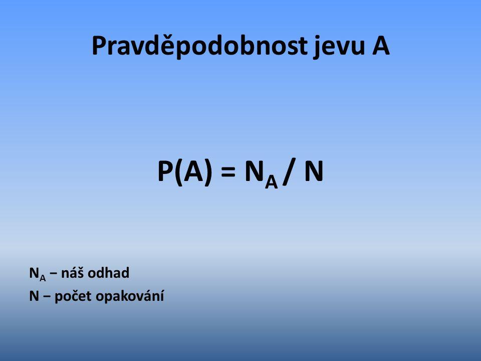 Pravděpodobnost jevu A P(A) = N A / N N A − náš odhad N − počet opakování