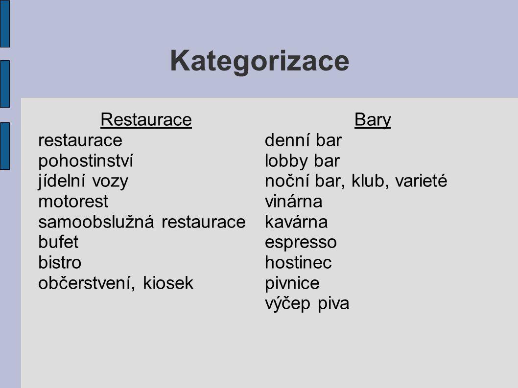Kategorizace Restaurace restaurace pohostinství jídelní vozy motorest samoobslužná restaurace bufet bistro občerstvení, kiosek Bary denní bar lobby ba