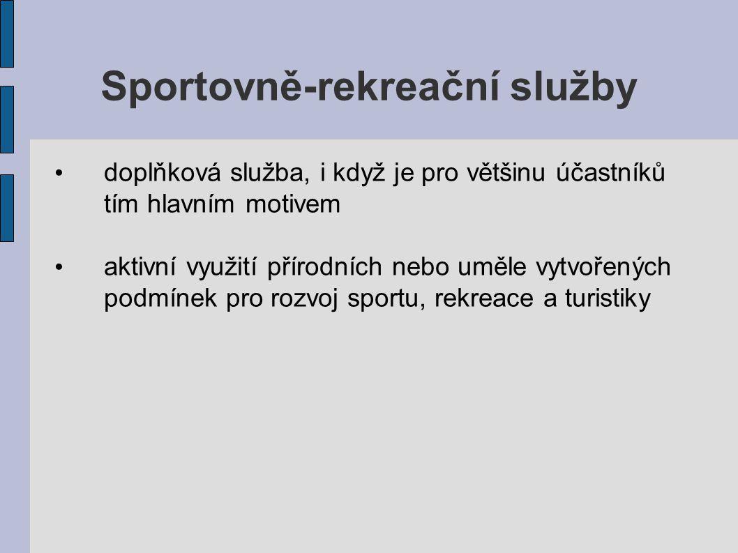 Sportovně-rekreační služby doplňková služba, i když je pro většinu účastníků tím hlavním motivem aktivní využití přírodních nebo uměle vytvořených pod