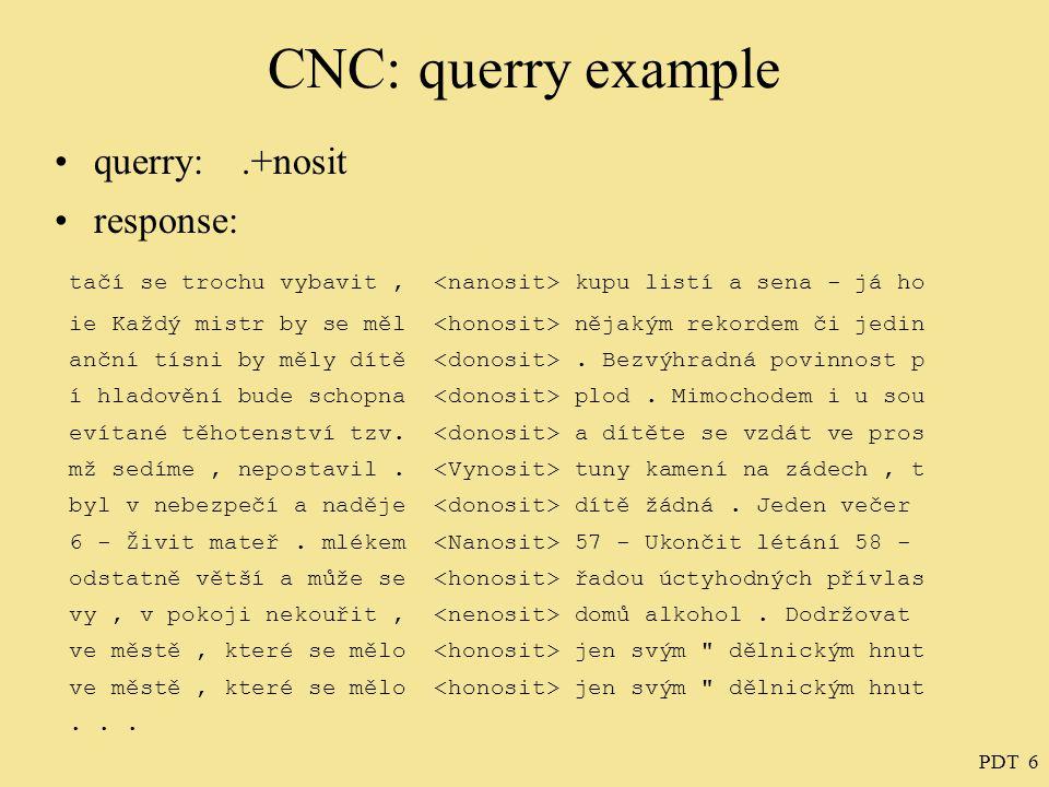 PDT 6 CNC: querry example querry:.+nosit response: tačí se trochu vybavit, kupu listí a sena - já ho ie Každý mistr by se měl nějakým rekordem či jedin anční tísni by měly dítě.