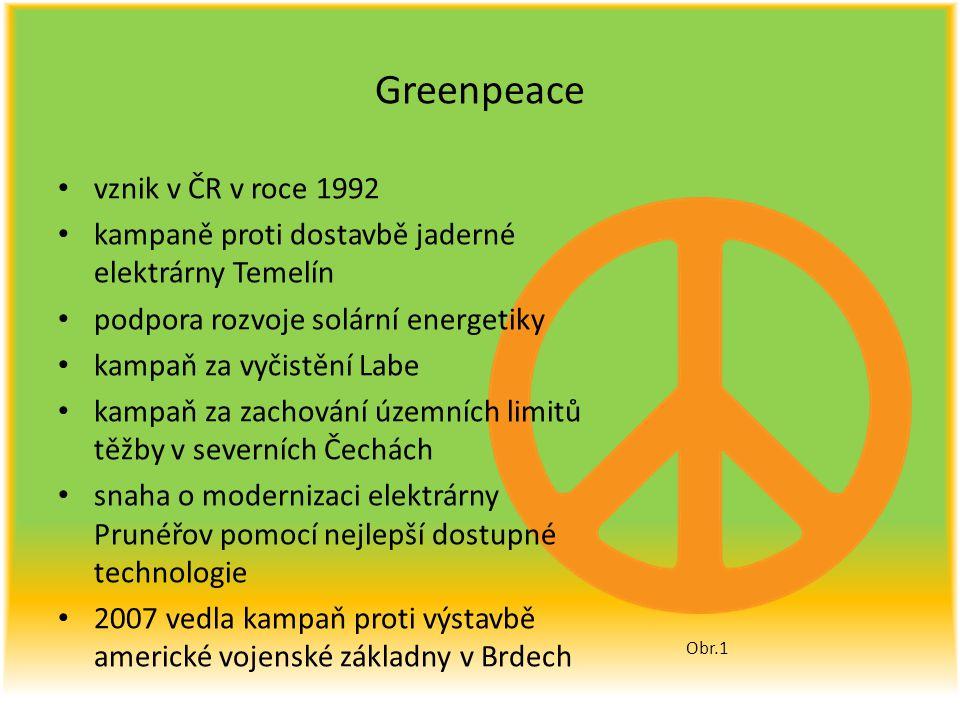 Greenpeace vznik v ČR v roce 1992 kampaně proti dostavbě jaderné elektrárny Temelín podpora rozvoje solární energetiky kampaň za vyčistění Labe kampaň