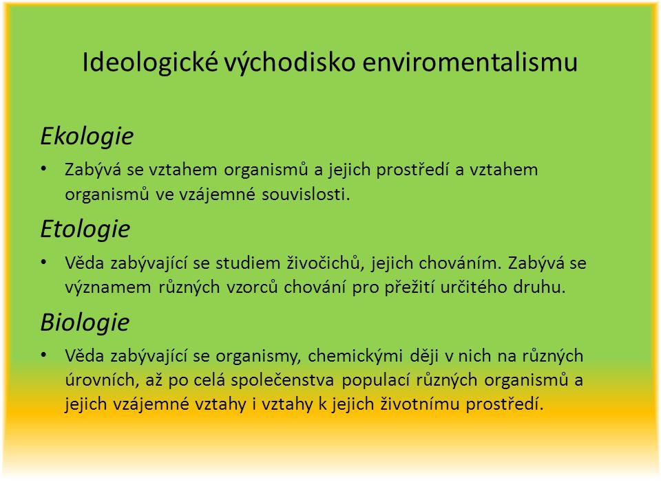 Ideologické východisko enviromentalismu Ekologie Zabývá se vztahem organismů a jejich prostředí a vztahem organismů ve vzájemné souvislosti. Etologie