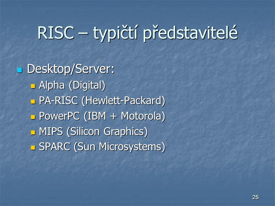 25 RISC – typičtí představitelé Desktop/Server: Desktop/Server: Alpha (Digital) Alpha (Digital) PA-RISC (Hewlett-Packard) PA-RISC (Hewlett-Packard) Po