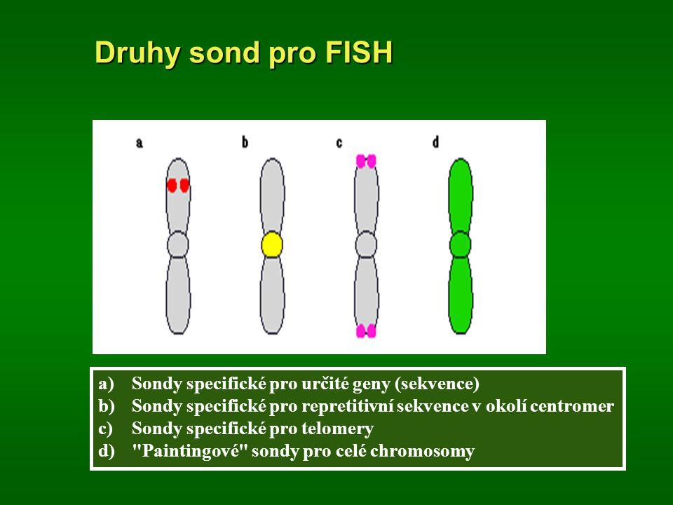 Druhy sond pro FISH a)Sondy specifické pro určité geny (sekvence) b)Sondy specifické pro repretitivní sekvence v okolí centromer c)Sondy specifické pr