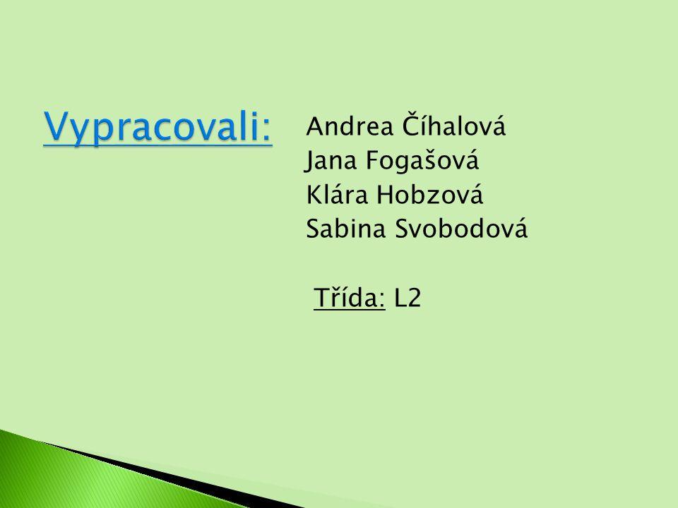 Andrea Číhalová Jana Fogašová Klára Hobzová Sabina Svobodová Třída: L2