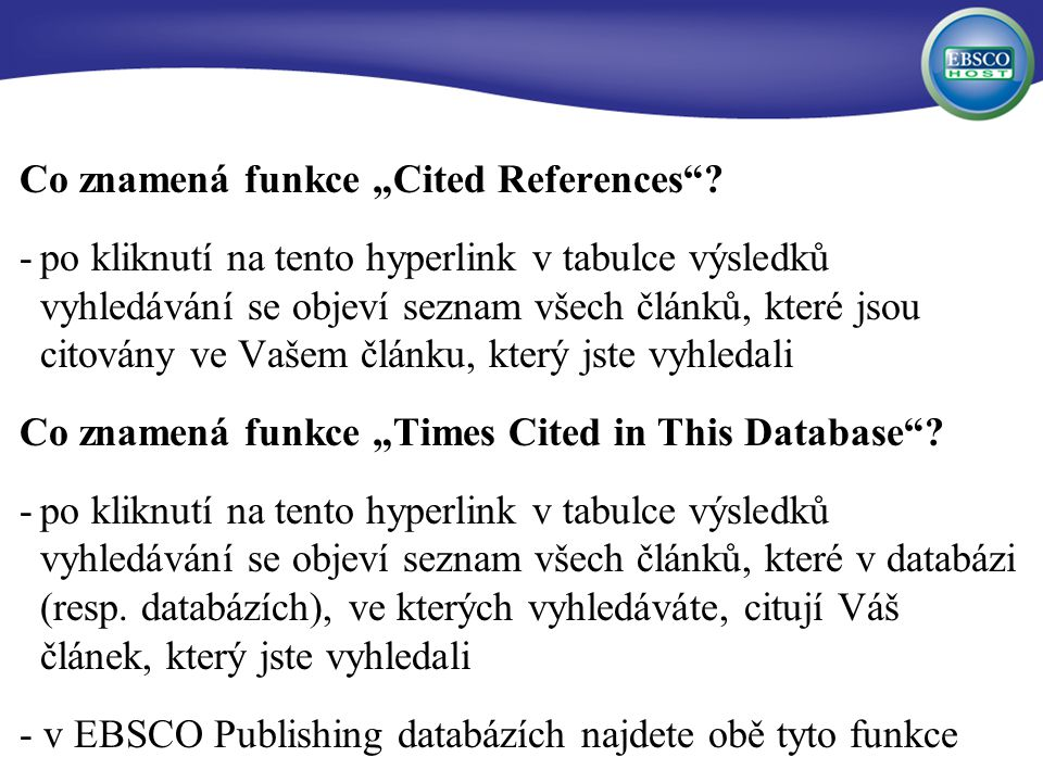 "Co znamená funkce ""Cited References ."
