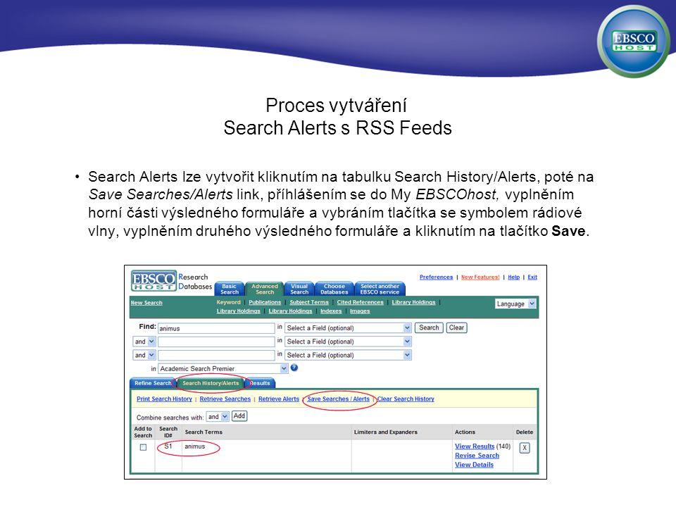 Proces vytváření Search Alerts s RSS Feeds Search Alerts lze vytvořit kliknutím na tabulku Search History/Alerts, poté na Save Searches/Alerts link, příhlášením se do My EBSCOhost, vyplněním horní části výsledného formuláře a vybráním tlačítka se symbolem rádiové vlny, vyplněním druhého výsledného formuláře a kliknutím na tlačítko Save.