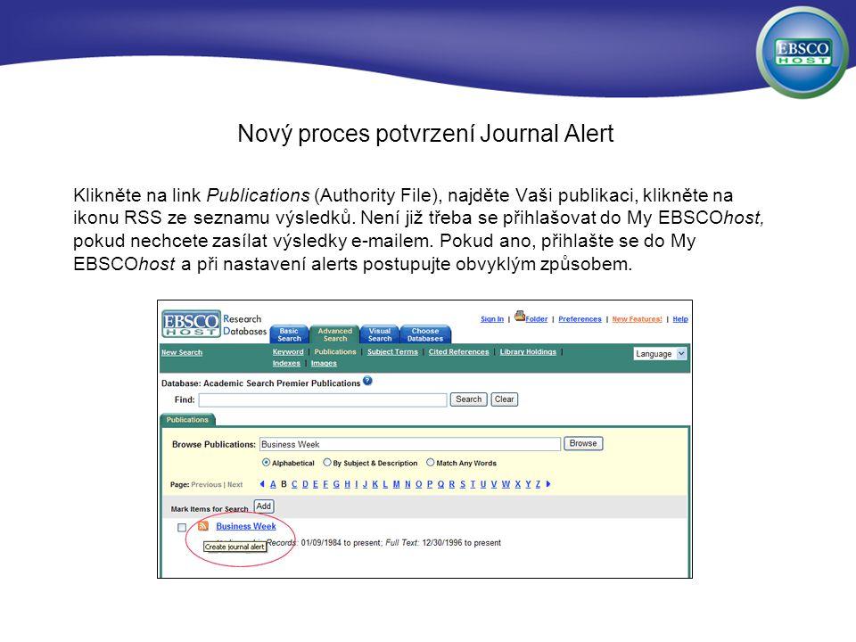 Nový proces potvrzení Journal Alert Klikněte na link Publications (Authority File), najděte Vaši publikaci, klikněte na ikonu RSS ze seznamu výsledků.