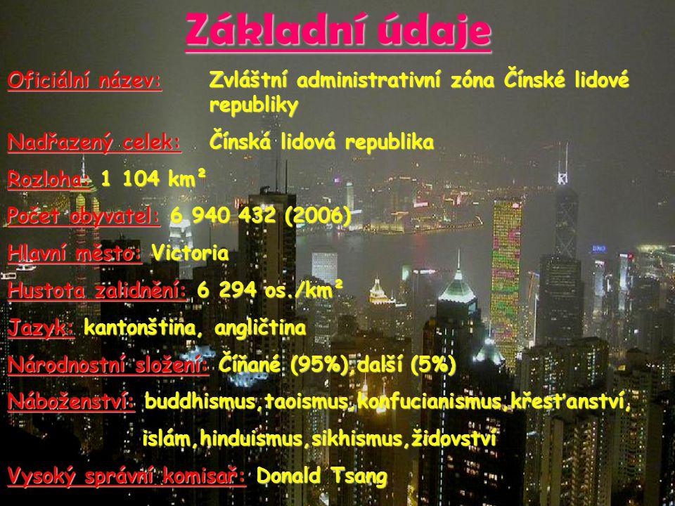Základní údaje Oficiální název: Zvláštní administrativní zóna Čínské lidové republiky Nadřazený celek: Čínská lidová republika Rozloha: 1 104 km² Poče