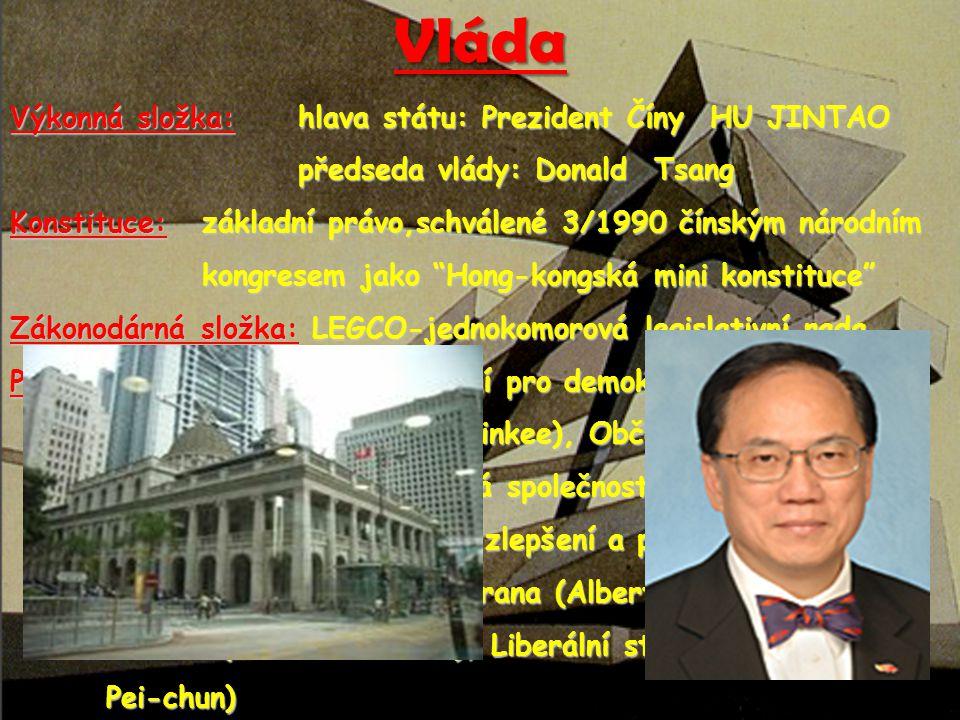 Vláda Výkonná složka:hlava státu: Prezident Číny HU JINTAO předseda vlády: Donald Tsang předseda vlády: Donald Tsang Konstituce: základní právo,schvál