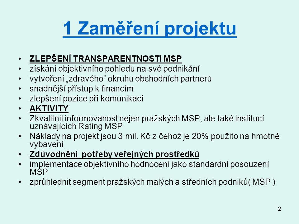 """3 2 Cílové skupiny Pražské malé a střední podniky informace jak získat objektivní hodnocení ekonomického zdraví podniku Zapojení (motivace) Zkvalitnění pohledu institucí uznávajících Rating MSP (městké společnosti, korporace, banky) Doprovodná opatření grafické certifikáty """"kvality Podíl cílové skupiny z území (městských částí) JPD2."""