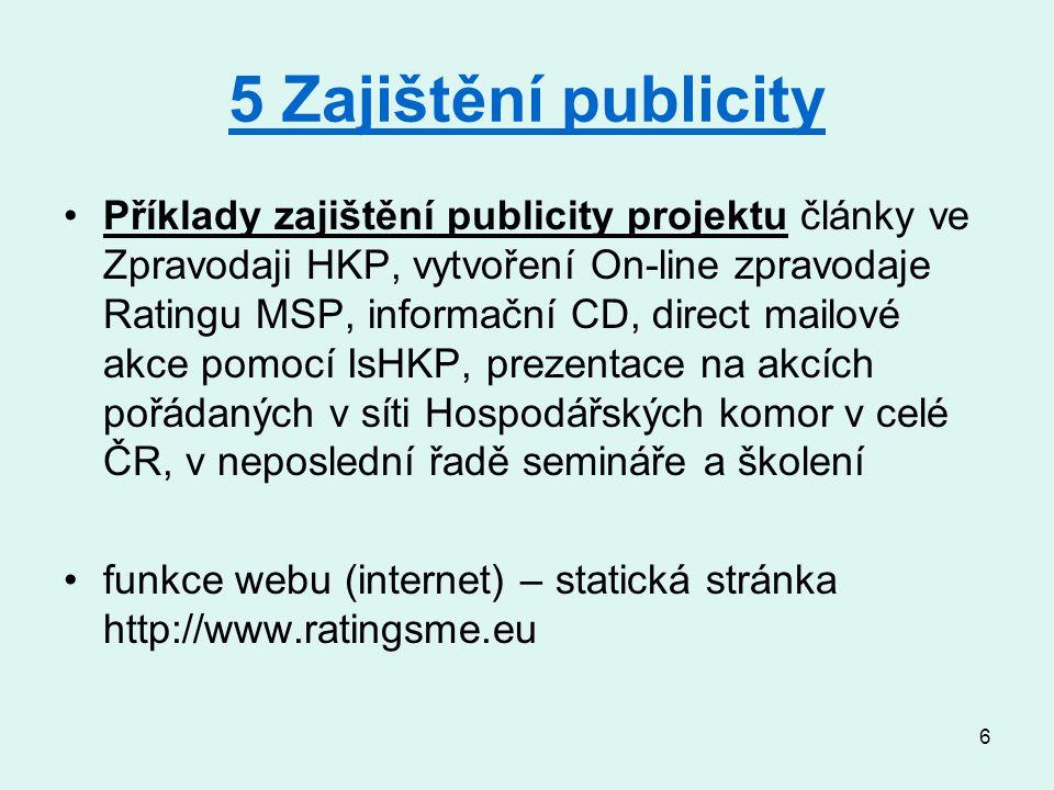 6 5 Zajištění publicity Příklady zajištění publicity projektu články ve Zpravodaji HKP, vytvoření On-line zpravodaje Ratingu MSP, informační CD, direct mailové akce pomocí IsHKP, prezentace na akcích pořádaných v síti Hospodářských komor v celé ČR, v neposlední řadě semináře a školení funkce webu (internet) – statická stránka http://www.ratingsme.eu
