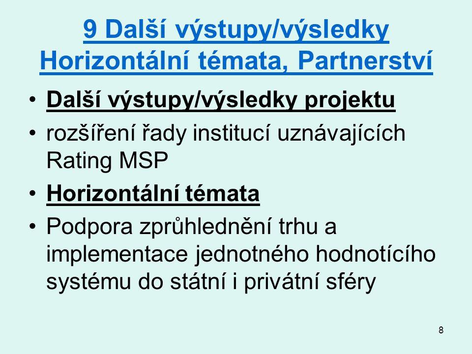 8 9 Další výstupy/výsledky Horizontální témata, Partnerství Další výstupy/výsledky projektu rozšíření řady institucí uznávajících Rating MSP Horizontální témata Podpora zprůhlednění trhu a implementace jednotného hodnotícího systému do státní i privátní sféry