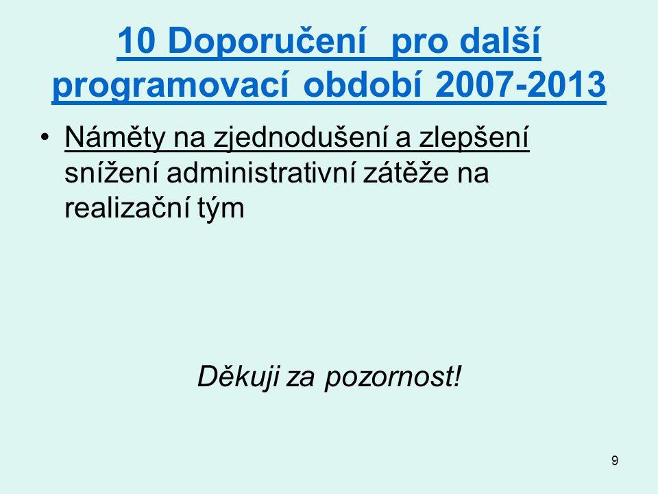 9 10 Doporučení pro další programovací období 2007-2013 Náměty na zjednodušení a zlepšení snížení administrativní zátěže na realizační tým Děkuji za pozornost!