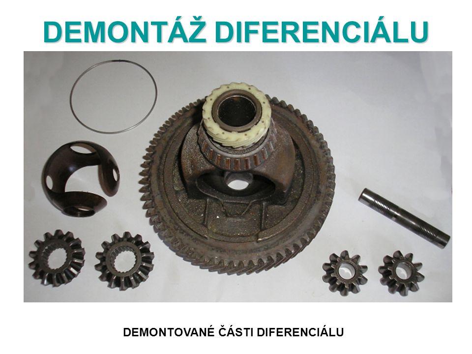 DEMONTÁŽ DIFERENCIÁLU DEMONTOVANÉ ČÁSTI DIFERENCIÁLU