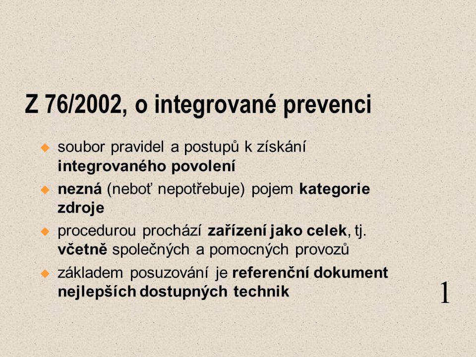 Z 76/2002, o integrované prevenci  soubor pravidel a postupů k získání integrovaného povolení  nezná (neboť nepotřebuje) pojem kategorie zdroje  procedurou prochází zařízení jako celek, tj.