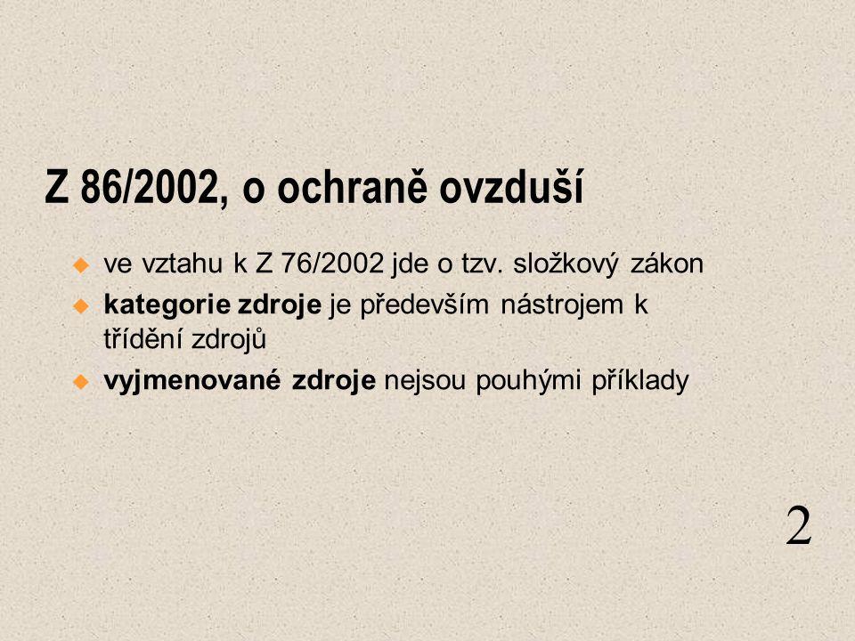 Z 86/2002, o ochraně ovzduší  ve vztahu k Z 76/2002 jde o tzv. složkový zákon  kategorie zdroje je především nástrojem k třídění zdrojů  vyjmenovan