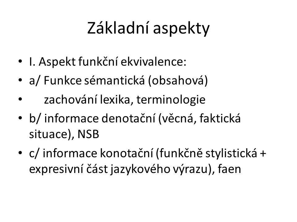 II.Aspekt pragmatický Je dán vztahem mezi jazykovým výrazem a účastníky komunikačního aktu.