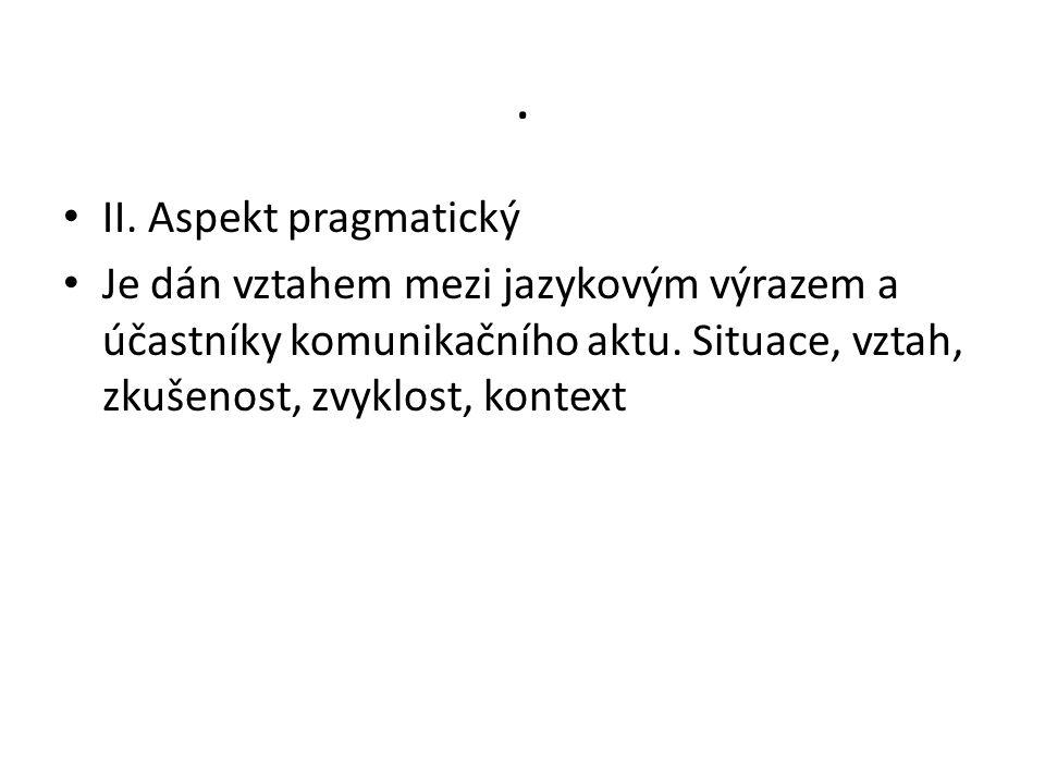 . II. Aspekt pragmatický Je dán vztahem mezi jazykovým výrazem a účastníky komunikačního aktu. Situace, vztah, zkušenost, zvyklost, kontext