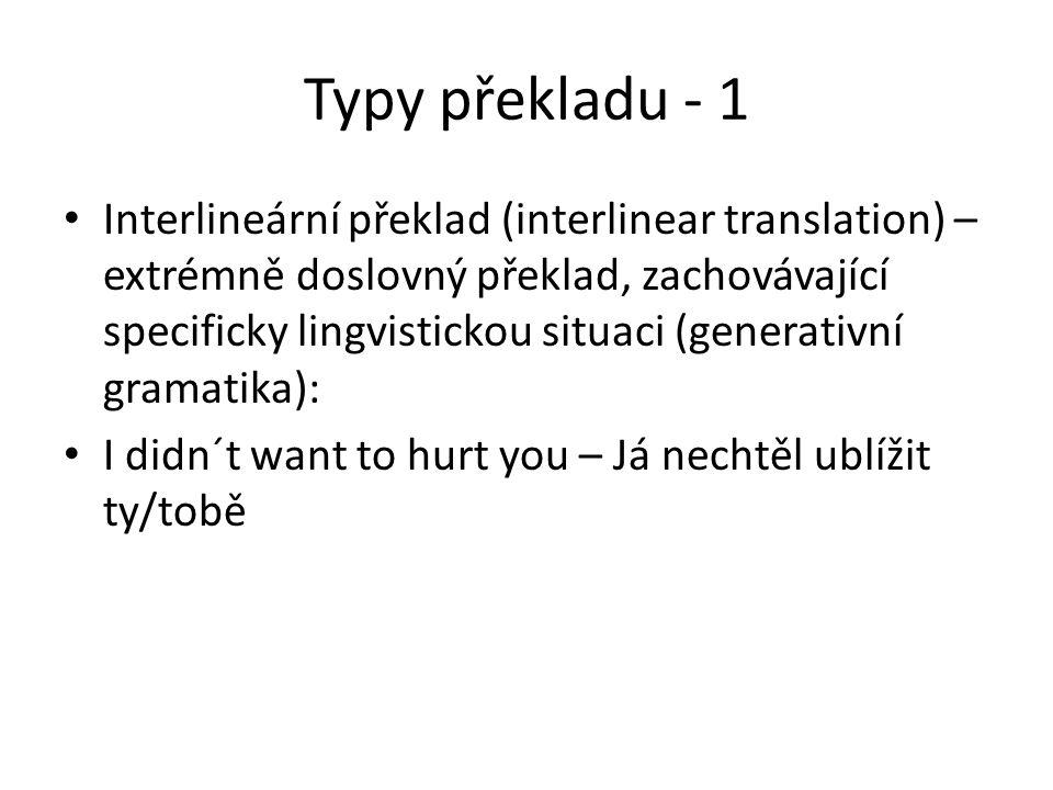 Typy překladu - 1 Interlineární překlad (interlinear translation) – extrémně doslovný překlad, zachovávající specificky lingvistickou situaci (generat