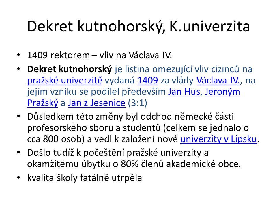 Dekret kutnohorský, K.univerzita 1409 rektorem – vliv na Václava IV.