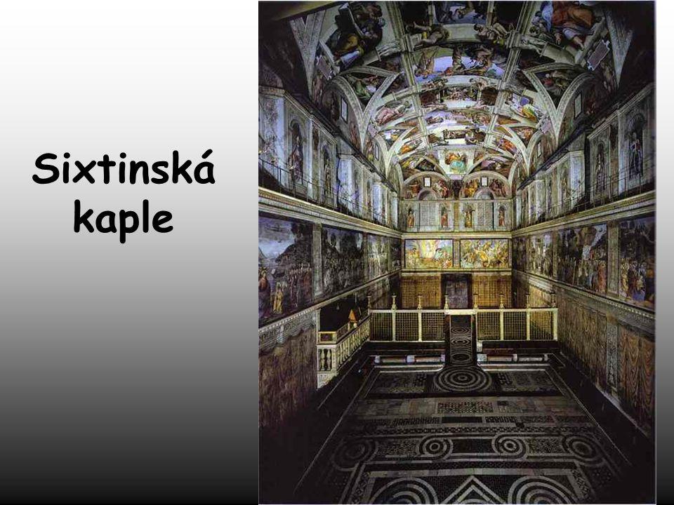 Michelangelo nechtěl malovat. Papež Julius II. trval na tom, aby vymaloval strop Sixtinské kaple. Namaloval scény ze Starého zákona. To se stalo Miche