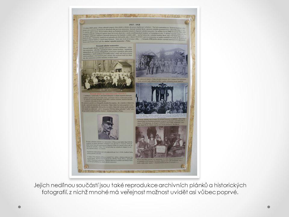 Panely jsou pojaty tematicky – jsou věnovány např. zdejší záložní vojenské nemocnici, válečným zajatcům v Písku, vojenským pohřbům obecně, vzniku píse