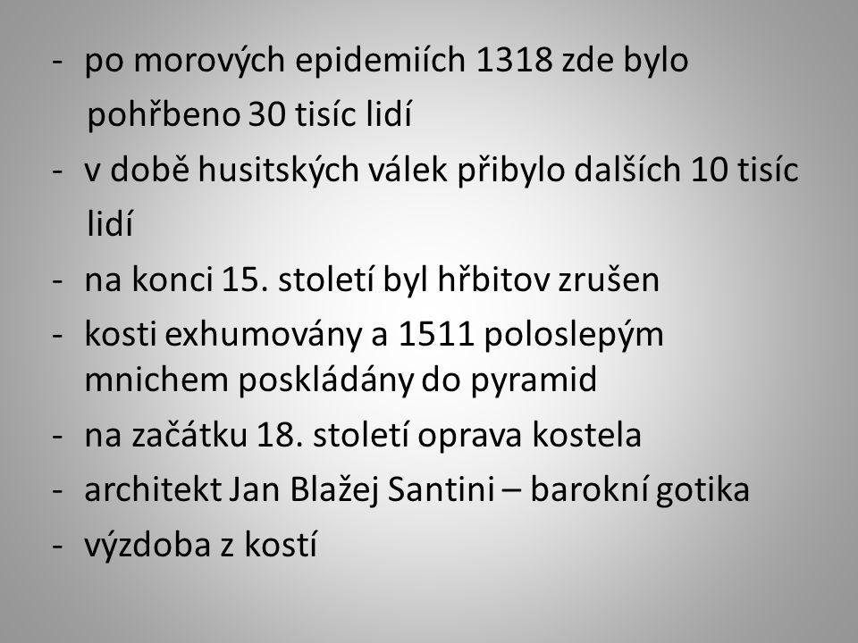 -po morových epidemiích 1318 zde bylo pohřbeno 30 tisíc lidí -v době husitských válek přibylo dalších 10 tisíc lidí -na konci 15.
