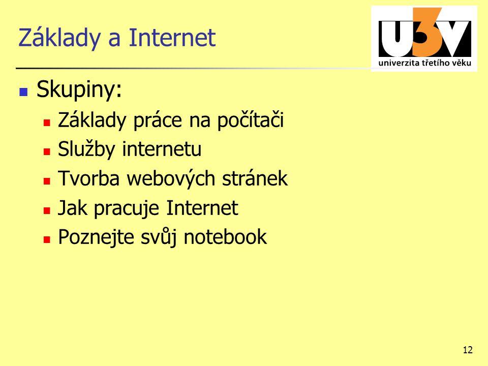 12 Základy a Internet Skupiny: Základy práce na počítači Služby internetu Tvorba webových stránek Jak pracuje Internet Poznejte svůj notebook