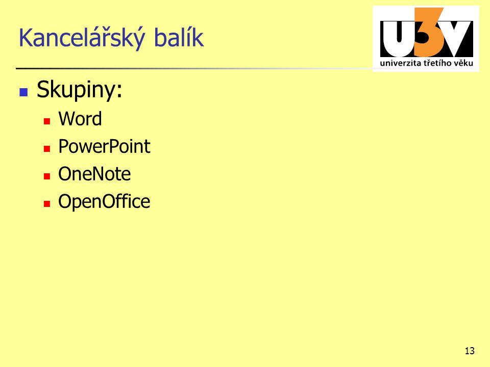 13 Kancelářský balík Skupiny: Word PowerPoint OneNote OpenOffice