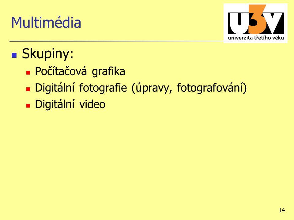 14 Multimédia Skupiny: Počítačová grafika Digitální fotografie (úpravy, fotografování) Digitální video