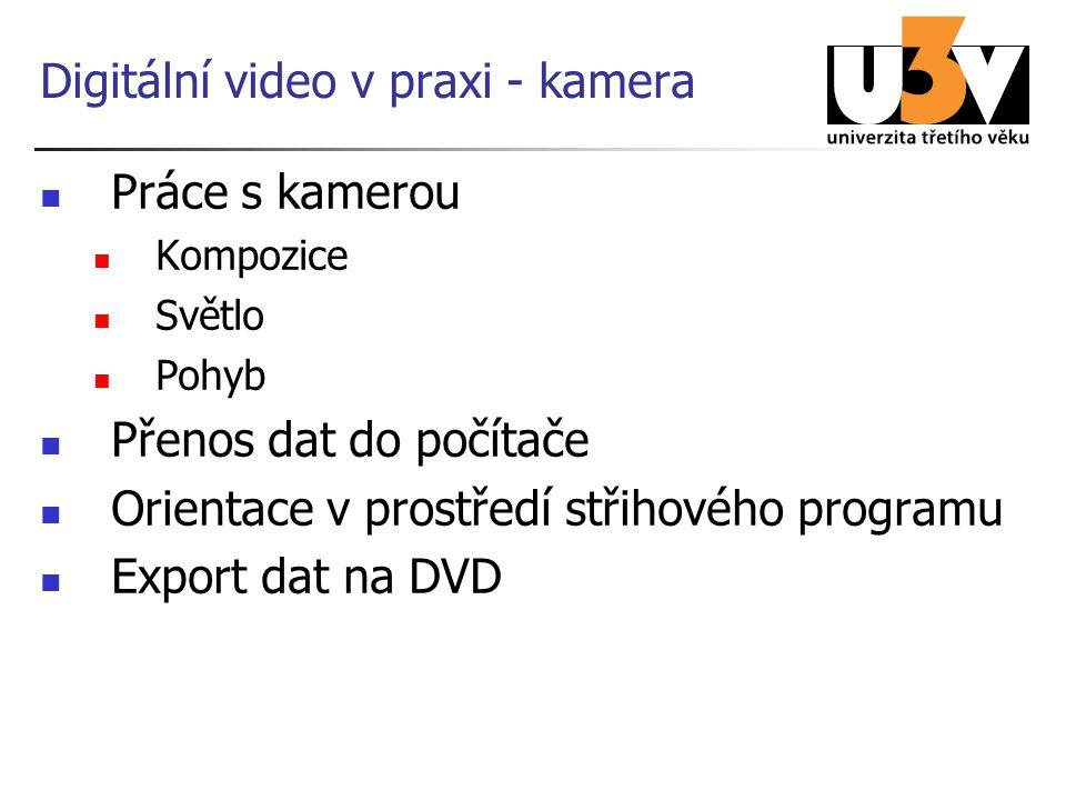Digitální video v praxi - kamera Práce s kamerou Kompozice Světlo Pohyb Přenos dat do počítače Orientace v prostředí střihového programu Export dat na DVD