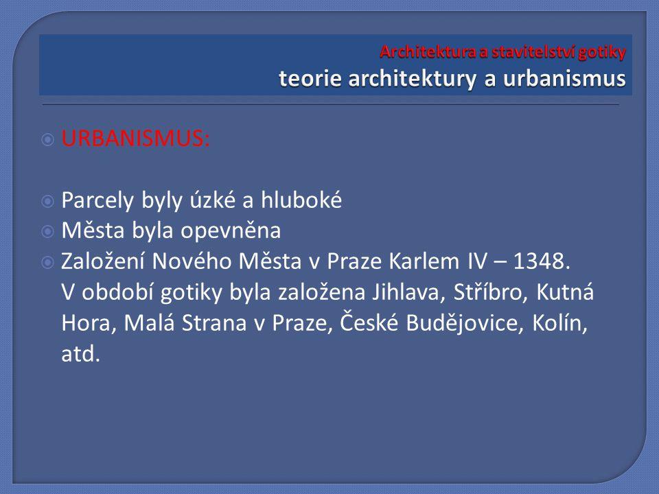  URBANISMUS:  Parcely byly úzké a hluboké  Města byla opevněna  Založení Nového Města v Praze Karlem IV – 1348. V období gotiky byla založena Jihl