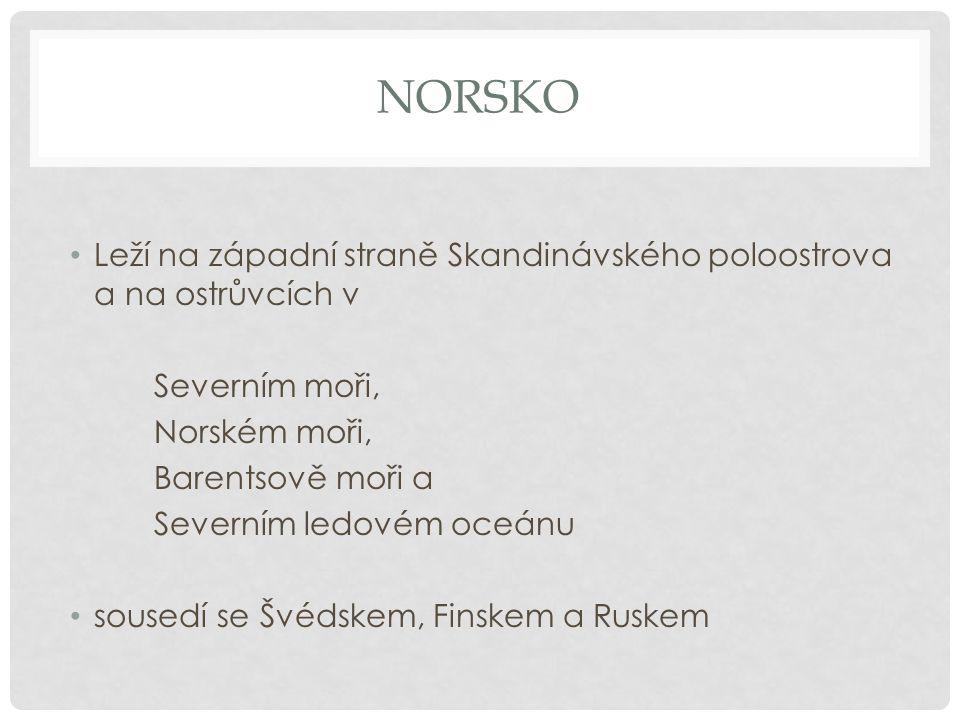 NORSKO Leží na západní straně Skandinávského poloostrova a na ostrůvcích v Severním moři, Norském moři, Barentsově moři a Severním ledovém oceánu sousedí se Švédskem, Finskem a Ruskem