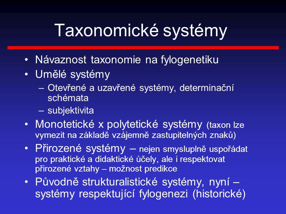 Taxonomické systémy Návaznost taxonomie na fylogenetiku Umělé systémy –Otevřené a uzavřené systémy, determinační schémata –subjektivita Monotetické x polytetické systémy (taxon lze vymezit na základě vzájemně zastupitelných znaků) Přirozené systémy – nejen smysluplně uspořádat pro praktické a didaktické účely, ale i respektovat přirozené vztahy – možnost predikce Původně strukturalistické systémy, nyní – systémy respektující fylogenezi (historické)