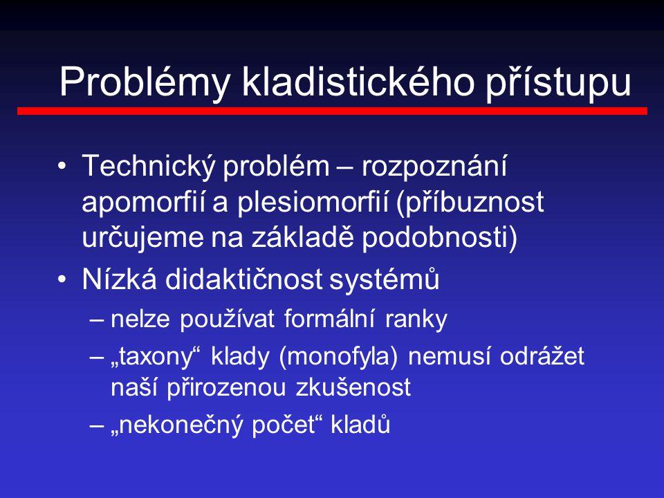 """Problémy kladistického přístupu Technický problém – rozpoznání apomorfií a plesiomorfií (příbuznost určujeme na základě podobnosti) Nízká didaktičnost systémů –nelze používat formální ranky –""""taxony klady (monofyla) nemusí odrážet naší přirozenou zkušenost –""""nekonečný počet kladů"""
