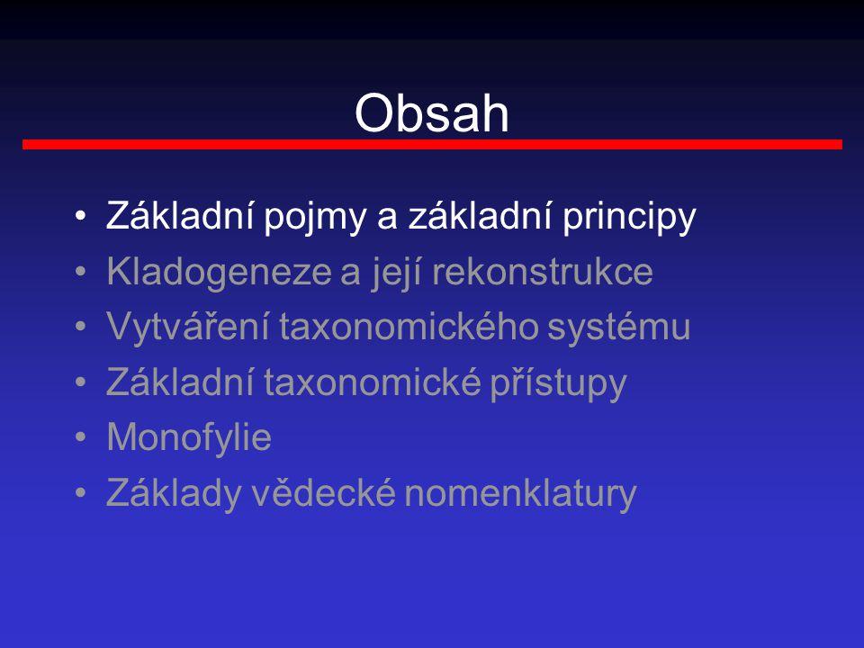 Obsah Základní pojmy a základní principy Kladogeneze a její rekonstrukce Vytváření taxonomického systému Základní taxonomické přístupy Monofylie Základy vědecké nomenklatury