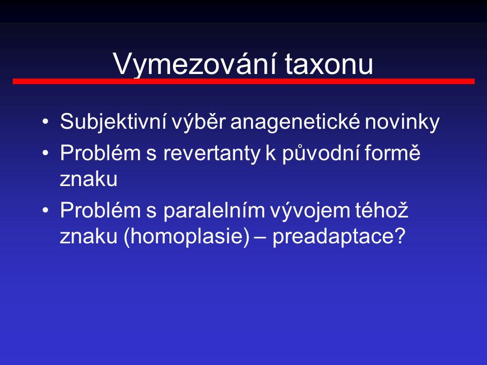 Vymezování taxonu Subjektivní výběr anagenetické novinky Problém s revertanty k původní formě znaku Problém s paralelním vývojem téhož znaku (homoplasie) – preadaptace?