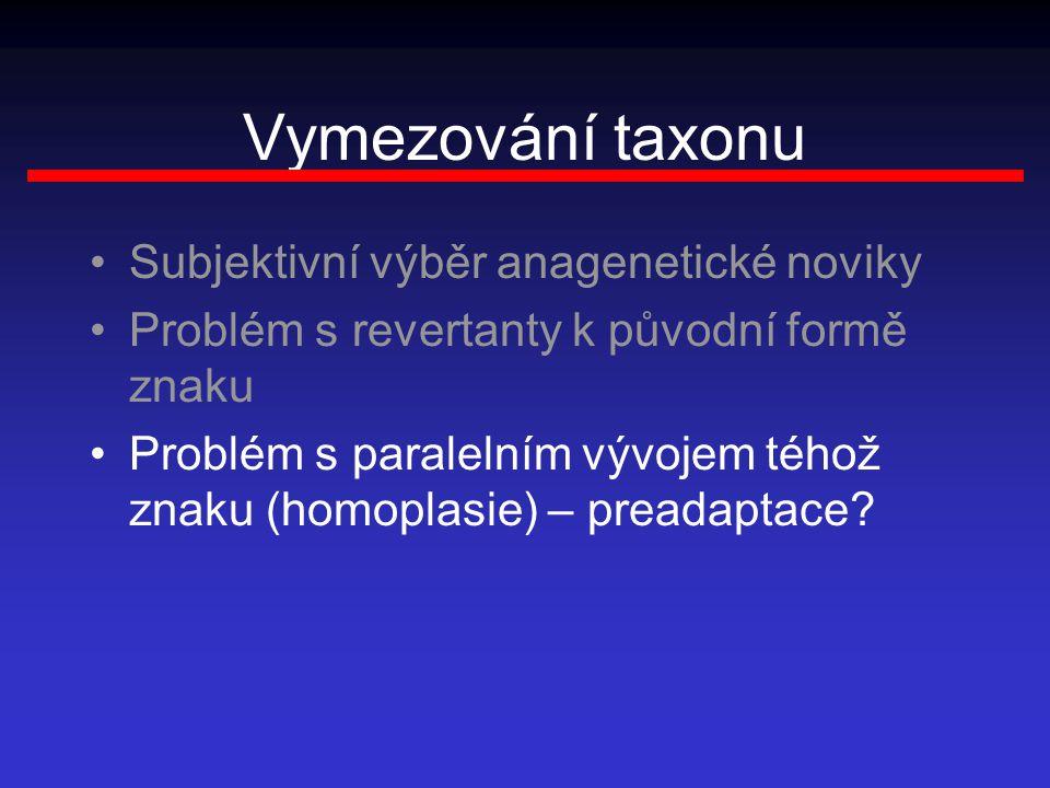 Vymezování taxonu Subjektivní výběr anagenetické noviky Problém s revertanty k původní formě znaku Problém s paralelním vývojem téhož znaku (homoplasie) – preadaptace?