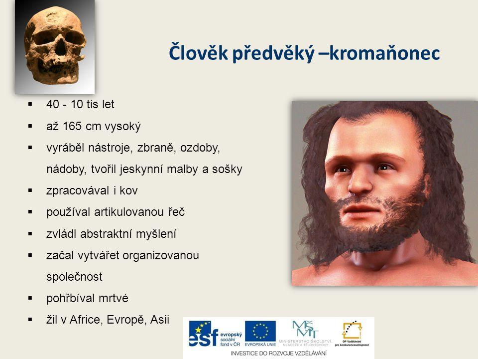 Člověk předvěký –kromaňonec  40 - 10 tis let  až 165 cm vysoký  vyráběl nástroje, zbraně, ozdoby, nádoby, tvořil jeskynní malby a sošky  zpracováv