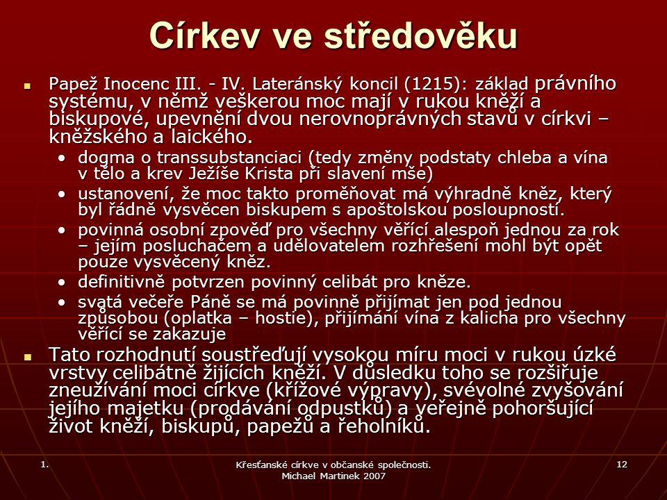 1. Křesťanské církve v občanské společnosti.